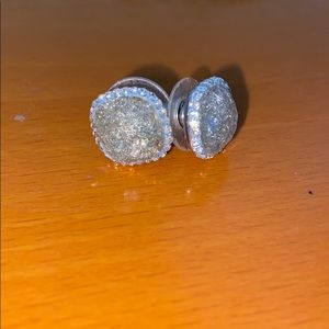 Silver diamond gem studs
